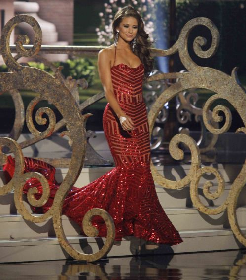 Sanchez takes part in the evening gown portion of the 63rd Annual Miss Universe Pageant in Miami