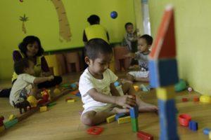 Children play at Keen Kids daycare in Jakarta