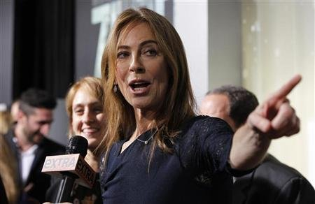 """Director Kathryn Bigelow is interviewed at the premiere of """"Zero Dark Thirty"""" at the Dolby theatre in Hollywood"""